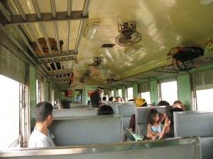 In the train (class 3).