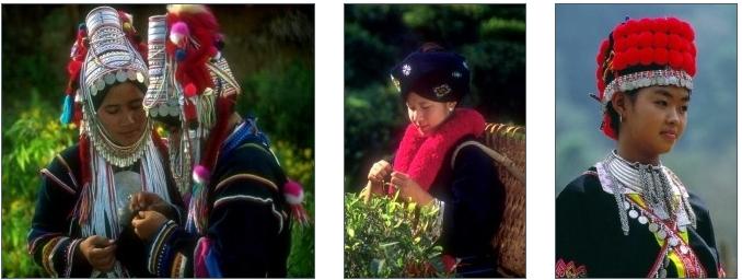 Ethnies Akha (gauche), Mien (centre) et Hmong (droite)
