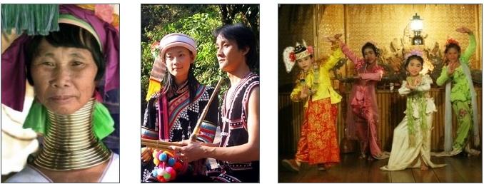 Femme Padaung (gauche), couple Lahu (centre) et danse Mon traditionnelle (droite)