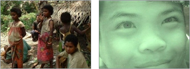 Ethnie Mani (gauche) et enfant Moken (droite)