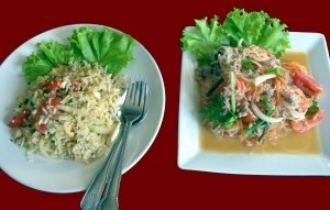 Khao Pad Kai (fried rice with chicken) and Yam Wun Sen.
