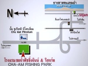 Map to Cha-am Fishing Park.