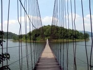 A suspended rope bridge