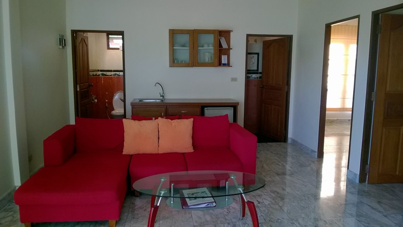 """The """"red bungalow"""", with marble tiles."""