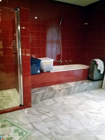 La grande salle de bain, avec douche et baignoire.