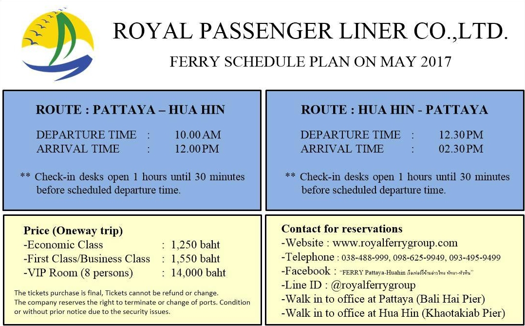 The ferry between Hua Hin and Pattaya has reopened