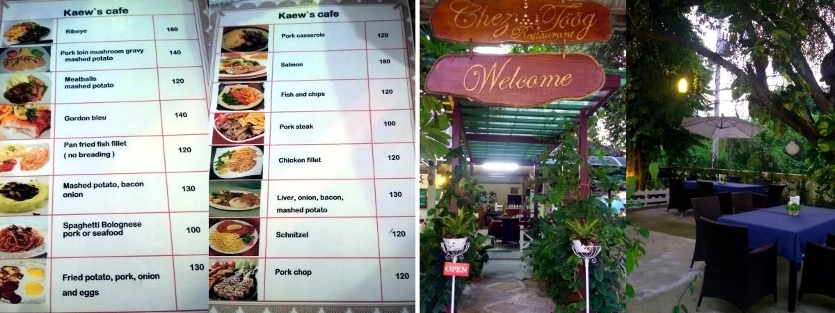 Le menu de Kaew's café (gauche) - Chez Töög (droite)