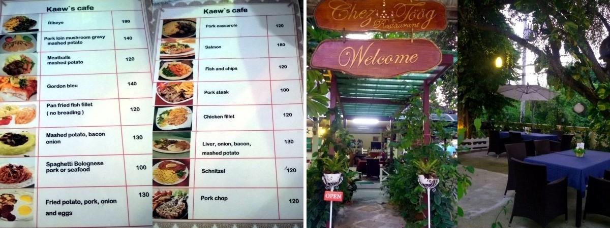 Kaew's café menu (left) - Chez Töög (right)